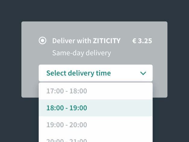 Delivery time selection example